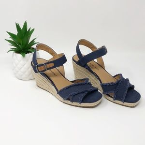 Lucky Brand Margaline Espadrille Wedges Blue 6.5